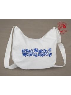 Szervető-kalocsai félhold táska - fehér-kék, futómintás