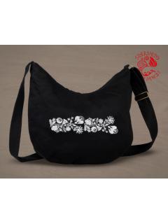 Szervető-kalocsai félhold táska - fekete-fehér, futómintás