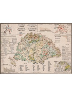 Magyarország gazdaságföldrajzi térképe fakeretben (1921) 100X70