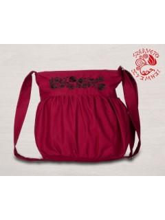 Szervető-kalocsai buggyos táska - bordó-fekete