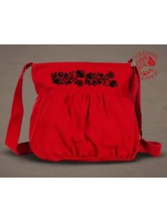 Szervető-kalocsai buggyos táska - piros-fekete