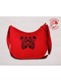 Szervető-kalocsai félhold táska - piros-fekete