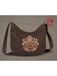 Életfa-szív (palmetta) félhold táska - barna