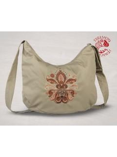 Életfa-szív (palmetta) félhold táska - bézs
