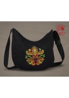 Életfa-szív (palmetta) félhold táska - fekete