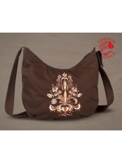 Szervető-jászsági, hímzett félhold táska - barna