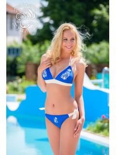 Szervető-kalocsai megkötős bikini - kék-fehér