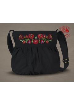 Szervető-matyó buggyos táska - fekete