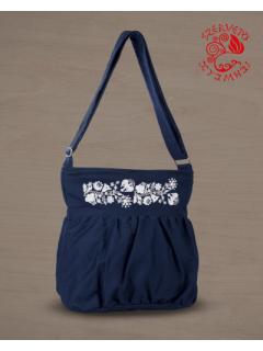Szervető-kalocsai buggyos táska - sötétkék-fehér