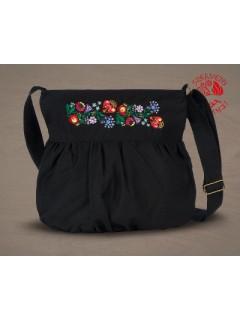 Szervető-kalocsai buggyos táska - fekete