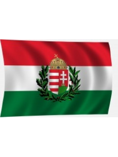 Magyar nemzeti színű zászló tölgy-olajágas címerrel