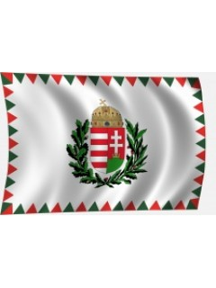 Tölgy-olajágas magyar címeres zászló farkasfogas díszítéssel