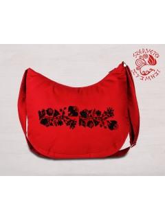Szervető-kalocsai félhold táska - piros-fekete, futómintás