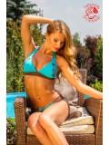 Szervető sálas bikini Kalocsai mintával, barna-kék