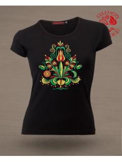 Szervető-jászsági női póló - fekete, U nyaku