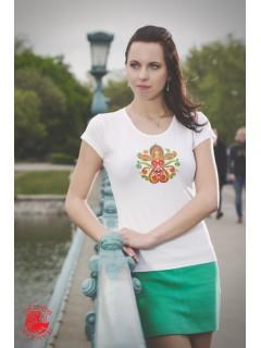 Szervető - Hímzett női  póló életfa mintával - fehér