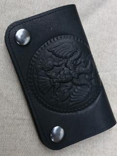 Turulos bőr pénztárca - fekete