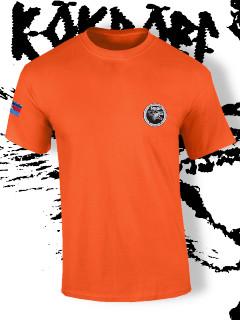 Póló hímzett farkas totemmel - narancs