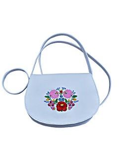 Női kis méretű táska hímzett, kalocsai, fehér