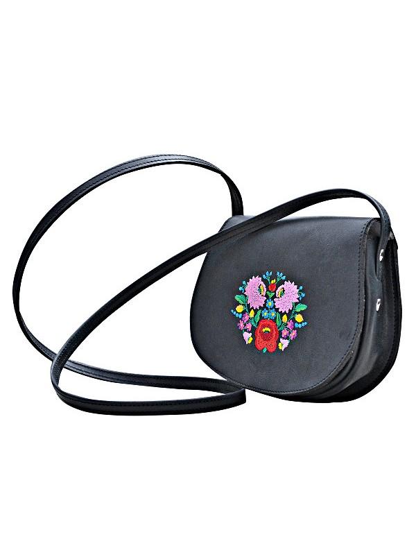766014cf36 Női kis méretű táska hímzett, kalocsai, fekete
