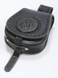 Poncolt bőrbenyomatos varrott tarsoly dunaszekcsői mintával  - fekete