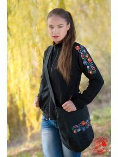 Szervető női állónyakú pulóver - kalocsai piros szegéllyel