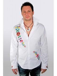 Kézzel hímzett fehér férfi ing