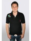 Kézzel hímzett fekete galléros férfi póló