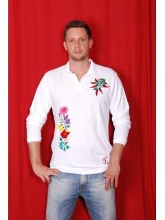 Kézzel hímzett fehér, hosszú ujjú, galléros férfi póló