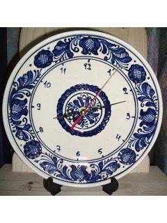 Korondi mintás tányér óra - kék