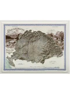 Magyarország hegyrajzi és vízrajzi térképe 3D dombortérkép 59X45
