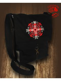 Napkereszt hímzett táska - fekete