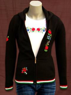 Kötött női kapucnis pulóver kalocsai hímzéssel - fekete