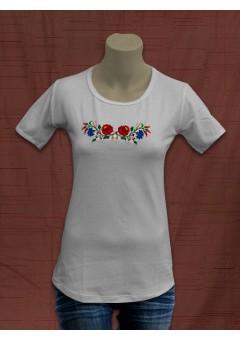 Női póló kalocsai hímzéssel - fehér