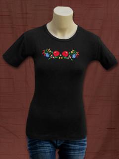 Női póló kalocsai hímzéssel - fekete
