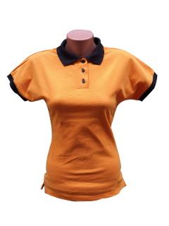 Hímzett Női lovas póló - narancs fekete szegéllyel