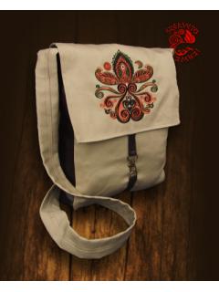 Palmettás hímzett táska - bézs