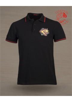 Csodaszarvas, hímzett, galléros piké póló - fekete