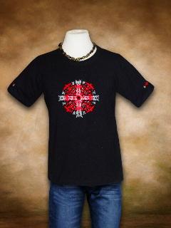 Szervető férfi póló - Hímzett Napkereszt fekete