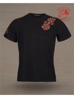 Szervető hímzett férfi póló - Matyó fekete