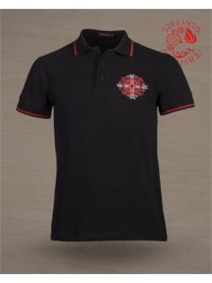 Szervető Galléros póló - napkereszt fekete