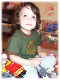 Csodaszarvas2 hímzett, rövid ujjú gyermekpóló - zöld-barna