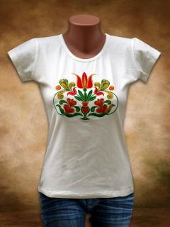 Szervető Hímzett női póló Székely Tulipán mintával - fehér