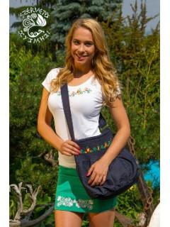 Szervető-jászsági tulipán, hímzett buggyos táska - farmer