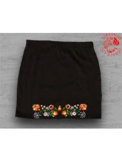 Szervető-kalocsai, hímzett miniszoknya - fekete, színes