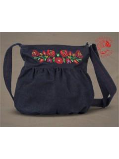 Szervető-matyó buggyos táska - farmer