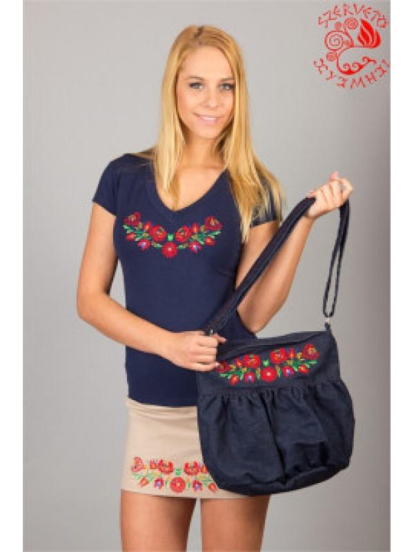 Szervető - Hímzett női póló matyó mintával - sötétkék 3c4ef76640