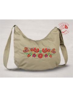 Szervető-matyó félhold táska - bézs, futómintás