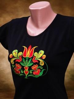 Szervető Hímzett női póló Székely Tulipán mintával - fekete