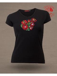Szervető - Hímzett női kereknyakú póló matyó mintával - fekete